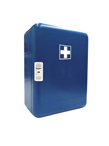 Botiquín Armario de primeros auxilios para pared con 83 artículos para realizar curas de emergencia (color AZUL)