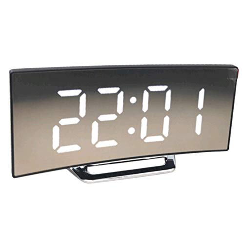 joyMerit Digitaler Wecker LED Digitalwecker Spiegelwecker Geräuschlos Funk Tischwecker Tischuhr mit Große Ziffern Display - Weiß