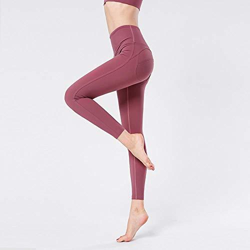Yogabroek met zakken Tummy Control,Push-ups dames yogabroek, fitness joggingbroek met hoge taille-Roze (JK13) _M,Sexy vrouwen losse stevige onregelmatige lange mouw