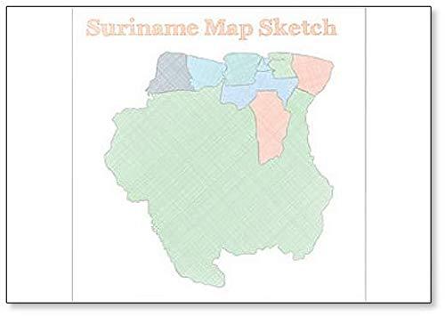 Suriname Map Sketch Illustration Koelkast Magneet