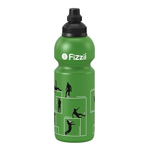 Fizzii Kinder- und Freizeittrinkflasche 600 ml (auslaufsicher bei Kohlensäure, schadstofffrei, spülmaschinenfest, Motiv: Spielzüge Fußball)