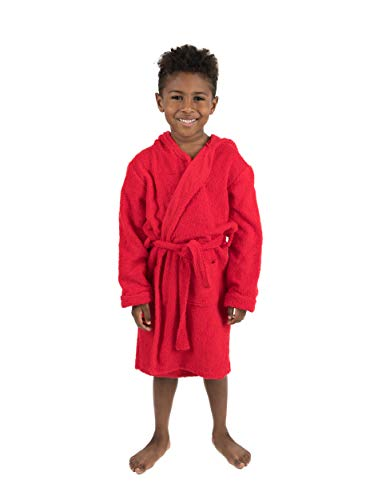 Leveret Boys Girls Kids Hooded Swim Bathrobe Red (Size 12-18 Months)