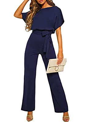 CANIKAT Women's Fashion Summer Casual Short Sleeve Tie Front Belted Jumpsuit Long Pants Cute Lightweight Romper Playsuit Blue M