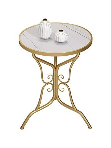 YAQ-Muebles de oficina Mármol Mesa de café, de metal Mesa redonda ventaja a los locales Sala Corner Table Habitación Hotel sala de recepción Mesa for sofá, 50,5 * 50,5 * 65cm Mesas de pedestal