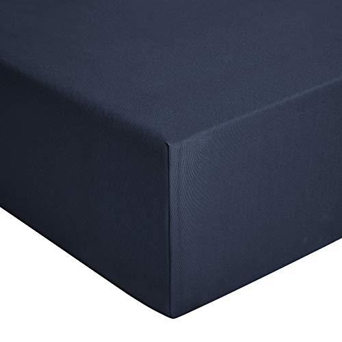 AmazonBasics - Spannbetttuch, Jersey, Marineblau - 140 x 200 cm