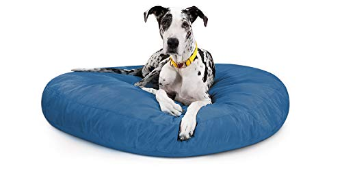 K9 Ballistics Round Dog Bed X-Large Nearly Indestructible & Chew Resistant, Waterproof Washable Tough Nesting Pillow for Chewing Puppy - for X-Large Dogs 54', Blue