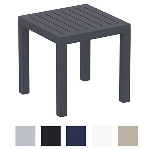 CLP Beistelltisch Ocean I Wetterfester Gartentisch aus UV-beständigem Kunststoff I witterungsbeständiger Tisch Dunkelgrau