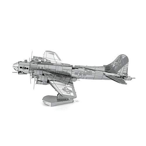 MetalEarth Aviation: B-17 Flying Fortress (Boeing) 14.7x11.3x4.3cm, Maquette 3D en métal avec 2 Feuilles, sur Carte 12x17cm, 14+