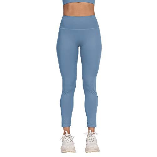 DAQAXGAO Leggings de Entrenamiento de Cintura Alta para Mujeres, Pantalones de Yoga a Prueba de Pendientes Estiramientos Mutery Soft Gym Leggings,Azul,S