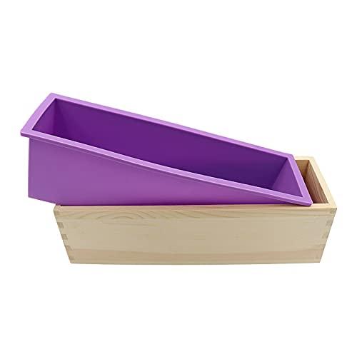 Molde de jabón, molde rectangular de silicona para pan para hacer jabón, con cajas de madera Jabón Molde de silicona con caja de madera para productos de jabón caseros de 44 onzas (púrpura)