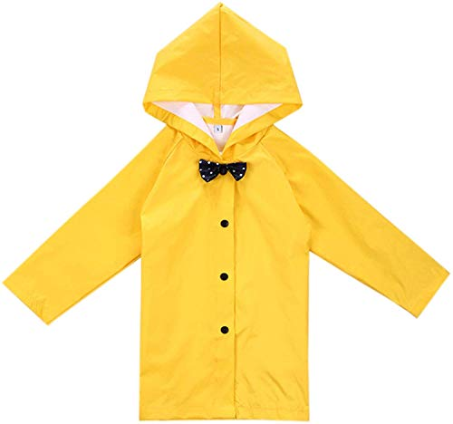 2-10세 어린이 긴 재킷 보우 레인웨어 경량 레인코트 아래 단추 후드