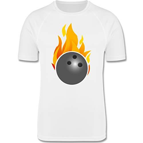 Shirtracer Bowling & Kegeln - Bowling Ball Flammen bunt - XXL - Weiß - Kegeln - F350 - Herren Laufshirt