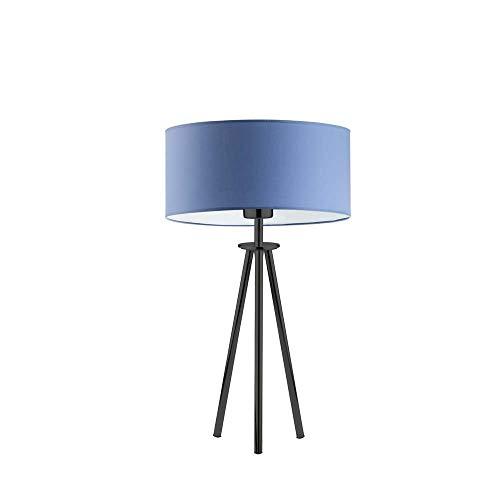 Lámpara para mesita de noche ALTA pantalla de lámpara azul marco negro