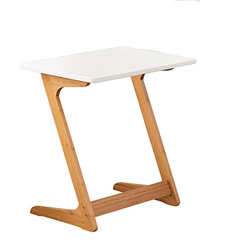 Bedroom Nightstand,Accent Sofa Table Wooden End Table Z Shaped Pedestal Tables Home Office Furniture Reading Desks - White,Gray Blue - L:60CM W:40CM H:65CM(Size:60 * 40 * 65CM,Color:White)