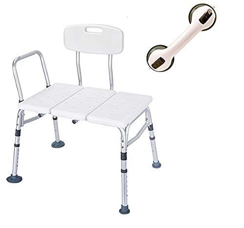 HEALTHLINE Tub Transfer Bench Balance Assist Suction Grab Bar Lightweight Medical Bath Shower Chair with Backrest Non-Slip Seat, Bathtub Transfer Bench for Elderly Disabled, Adjustable Height, White