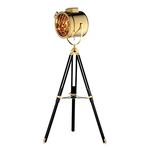 Stainless Steel Tripod Searchlight Lamp Nautical Photography Floor Lamp Retro Spot Light Lamp Movie Props Classic Theater Collectible (Color : Metallic)