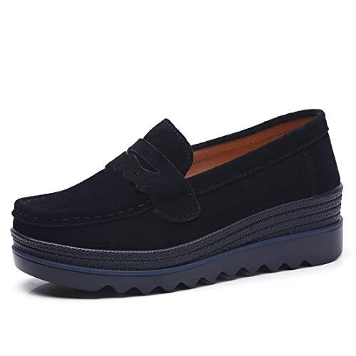 Z.SUO Mujer Mocasines de Cuero Gamuza Moda Loafers Casual Zapatos