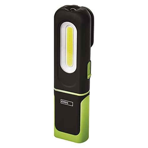 EMOS Lámpara de trabajo LED impermeable, recargable, con base de soporte, clip, gancho e imán, 330 lm, alcance de 45 m, batería de 1200 mAh con 7 horas de duración, cable USB, 3 modos de luz