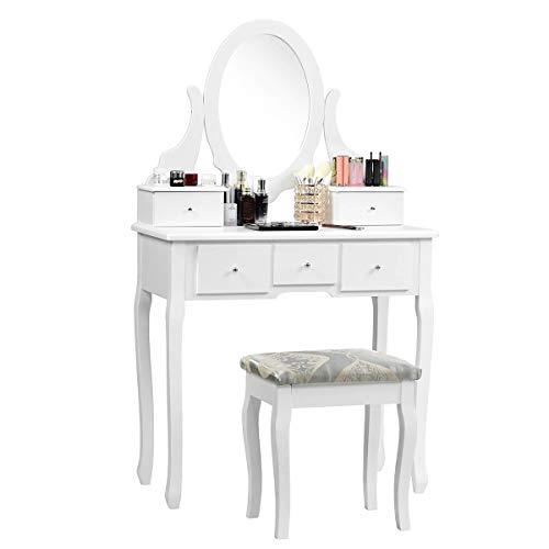 Costway Coiffeuse Femme, Table de Maquillage Moderne avec 5 Tiroirs et 1 Miroir, Tabouret Inclus, Idéal pour Décorer Votre ChambreBlanche