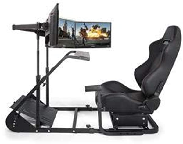 VEVOR Simulator Cockpit RS6 With Real Racing Seat Simulator Height Adjustable Racing Wheel Stand With Logitech G25 G27 G29 G920 Next Level Racing Wheel And Pedals Not Included