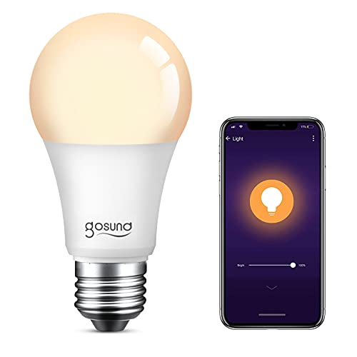 Smart Light Bulb 75W Equivalent E26 8W Works with Alexa Google Home A19 LED Bulb Dimmable Bulb, 2.4Ghz WiFi Only, No Hub Required Warm White