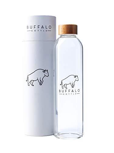 Buffalo Bottle Borosilikatglas Trinkflasche auslaufsicher BPA frei, lebensmittelechte Glasflasche, Wasserflasche Glas, Sportflasche, Getränkeflasche mit Bambusdeckel, 1l