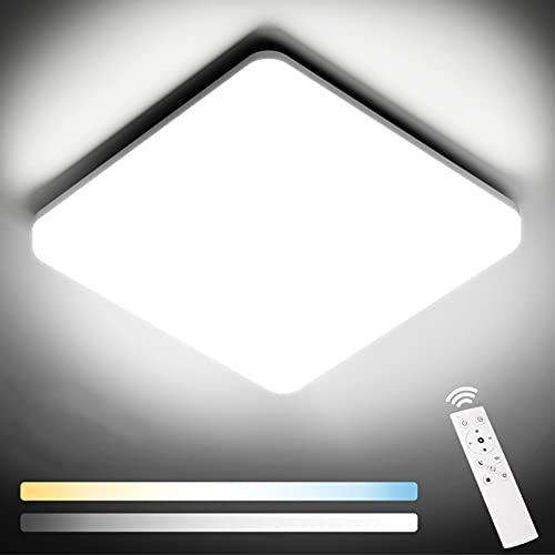 NIXIUKOL Plafoniera Led Soffitto 24W 2400LM, Plafoniera LED dimmerabile 3000-6500K, IP54 Impermeabile da bagno, Plafoniera per bagno Camera da letto Casa-ufficio Cucina Corridoio Soggiorno 28cm