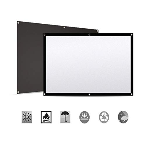Projector Screen, 120 inch 16:9 HD Portable Video Projector Screen Foldable Anti-Crease Indoor Outdoor Projection Double Sided Movie Projection Screen for Home, Office, Classroom