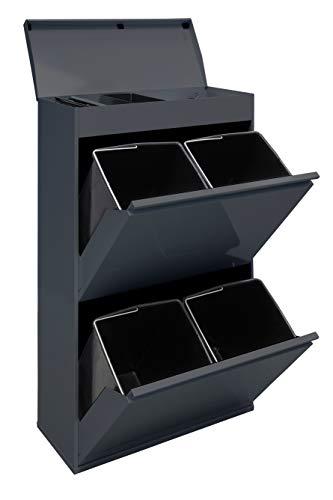 Arregui Top CR624-B Cubo de Basura y Reciclaje de Acero de 4 Cubos y Bandeja Superior Multiusos, Gris Oscuro Antracita, 97.5x58.6x24.5