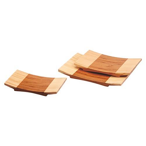 Pujadas P100.522 Lot de 24 planches à sushi incurvées en bambou 27 x 18 cm