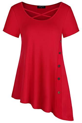 MIMIGOGO Women's Casual Criss Cross Button Side Irregular Hem Short Sleeve Flowy Tunic Tops T-Shirt Blouse MGU318-WRS Red