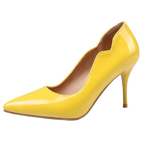 LUXMAX Decolte Donna con Tacco Alto Tacchi Spillo Scarpe a Punta in Vernice Slip-on Shoes Stiletto Heels (Giallo) - 35 EU