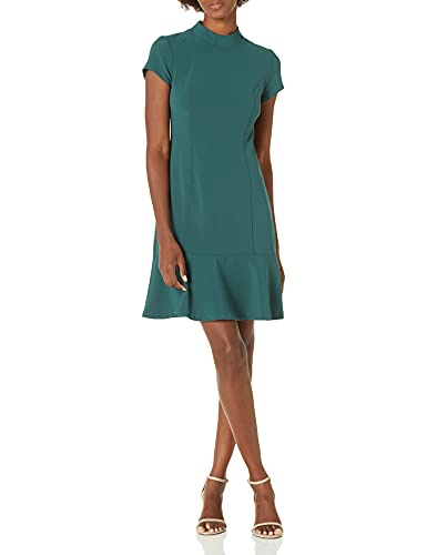 Lark & Ro Women's Short Sleeve Mocke Neck Ruffle Hem Sheath Dress, Emerald, 10