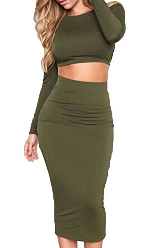 Sunfury Women Long Sleeve Crop Top Pencil Skirt Two Piece Set Bodycon Dress Army Green S