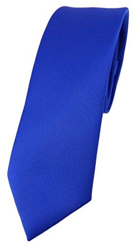 TigerTie schmale Designer Krawatte in royal einfarbig Uni - Tie Schlips