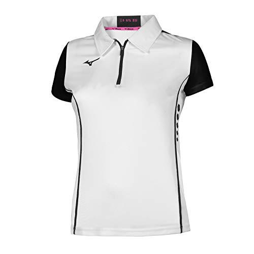 Mizuno Hex Rect Zip Polo W Poloshirt für Damen, Damen, Polo, 62EA7201, Weiß/Schwarz, XS