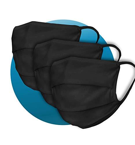 3 x Pack der Gesicht-Abdeckung waschbar | Mundschutz aus 99% Bio-Baumwolle für Mund & Nase in schwarz für Erwachsene | Handmade Produkt und Wiederverwendbare Mund-Abdeckung