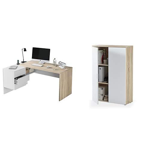 Habitdesign 0F4655A - Mesa Office, Mesa despacho Ordenador Modelo BUC 3 cajones, Color Blanco Artik y Roble Cananadian+ 0F5655A - Mueble Auxiliar Despacho, Modelo Office, Medidas: 119 X 80 X 32,5 Cm