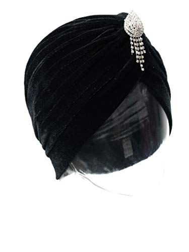 Vintage 20s 30s 50s Twist Pleated Velvet Knotted Stretch Turban Hat Head Wrap