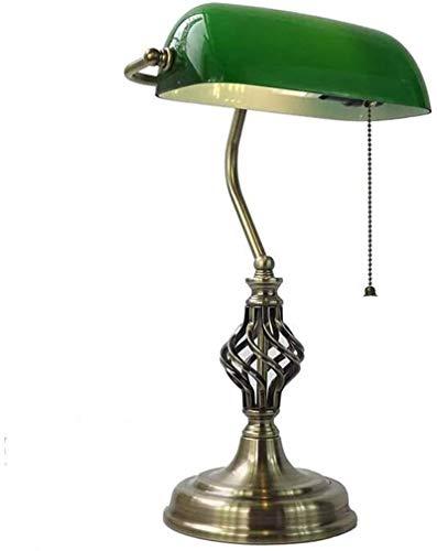 Amerikanische Bronze Bankers Lamp Glass Shade Tischlampe Büroschreibtischlampe E27 Spiral Twist Retro-Klassiker Barn Loft Scheune renoviert Restaurant (Farbe, Grün),Grün