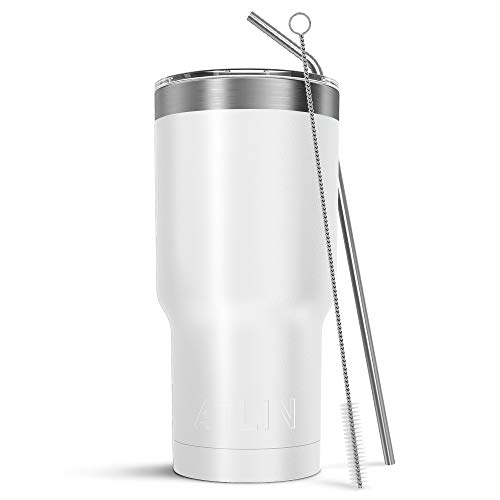 Atlin Sports Atlin Tumbler [30 oz. Double Wall Stainless Steel Vacuum Insulation] Travel Mug [Crystal Clear Lid] Water Coffee Cup [Straw Included] (White) For...