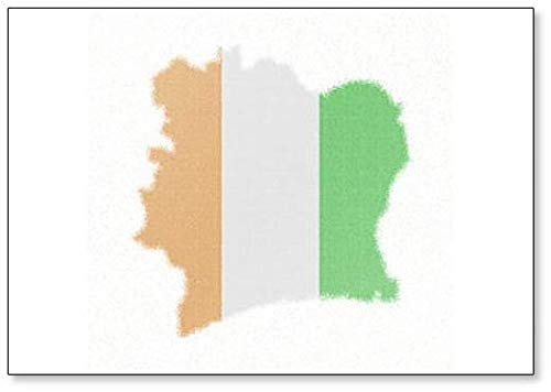 Karte der Elfenbeinküste. Kühlschrankmagnet im Mosaik-Stil mit Flagge der Elfenbeinküste