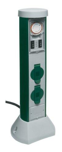 REV Ritter 0068206251 GreenCraft Zeitschaltuhr mit 2-fach Steckdose| Außenbereich| Steckdosensäule| Gartensteckdose| 2 spritzwassergeschützte Schutzkontaktsteckdosen| grau grün