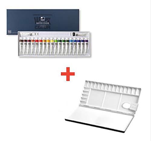 Shinhan Professional Watercolor Paint 12ml Tubes 20 Color Set + Heungil Aluminum Watercolor Palette 20 Well