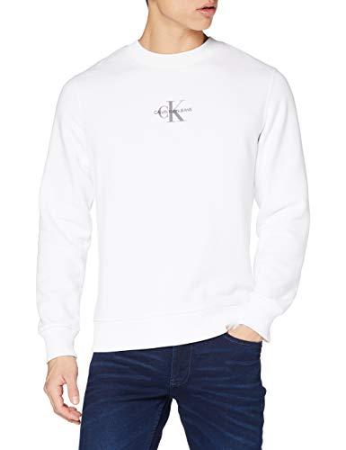 Calvin Klein Chest CK Print Crew Neck Maglione, Bright White, XS Uomo