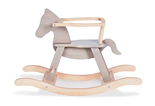 Schaukelpferd Pinolino mit Ring, aus massivem Holz, Ring abnehmbar, Umbausatz enthalten, für Kinder ab 9 Monaten, grau/natur