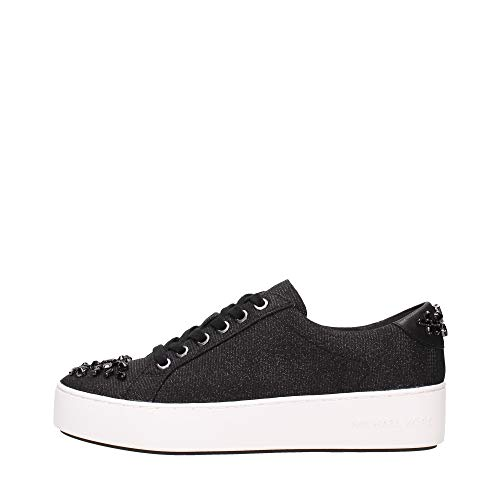 Zapatos Mujeres Sneakers Michael KORS Poppy Lace Up Glitter 43T7POFS1D Black New