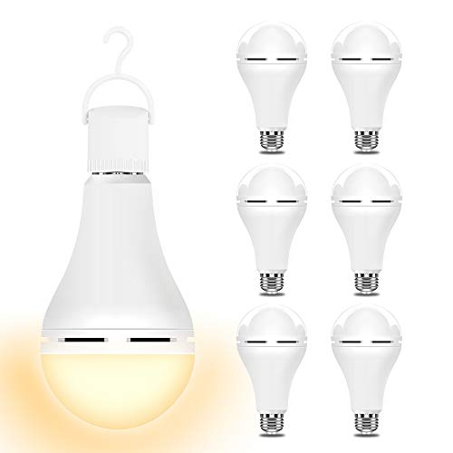 3000K 6PK Emergency-Rechargeable-Light-Bulb, Stay Lights Up When Power Failure, 1200mAh15W 80W Equivalent LED Light Bulbs for Home, Camping, Tent