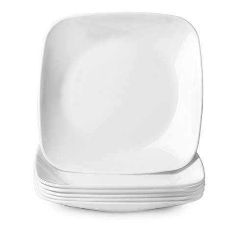 Delling 9'' Porcelain Dinner Plates-White Lunch/Salad/Dessert Plate- Square Dinnerware Dish Set for Dinner and Salad, Restaurant, Kitchen and Dinner-Serving Platter Set,Set of 6