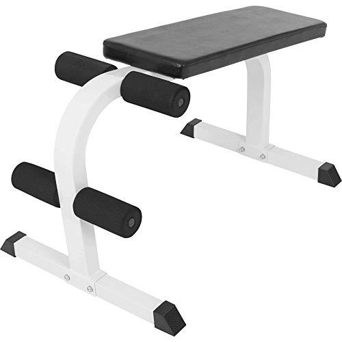 GORILLA SPORTS® Bauchtrainer mit Beinfixierung Weiß – Sit-Up Hantelbank bis 150 kg belastbar